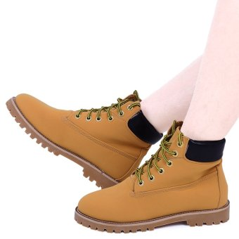 Stylish Punk Pure Color Round Toe Lace Up Ladies Ankle Boots(Brown) - intl
