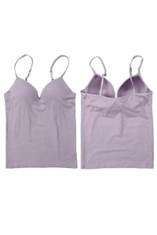 Bluelans Modal Adjustable Strap Built In Bra Padded Bra Top Camisole Cami Light Purple (Intl)