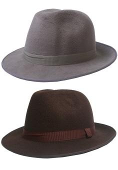 Bộ 2 Mũ Nón Fedora Nữ Dạ Nỉ Rộng Vành Lớn SoYoung MU FEDORA 002 G BR WM