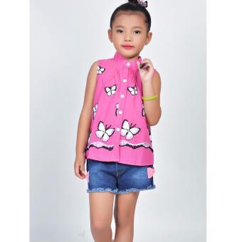 Áo kiểu thêu bướm Somy Kids màu hồng
