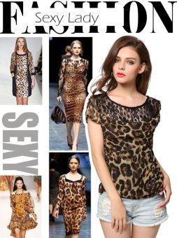 Sunweb Finejo Stylish Ladies Women Casual Short Sleeve O-neck Top Blouse ( Black ) - intl