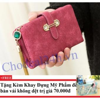 Ví nữ mẫu nhỏ gọn CDVN01 (hồng) + Tặng kèm khay đựng mỹ phẩm để bàn