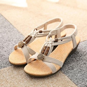 Women's Casual Peep-toe Flat Buckle Shoes Roman Summer Sandals Beige - intl