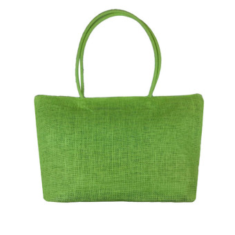 Simple Candy Color Large Straw Beach Bags Women Casual Shoulder Bag Green - Intl