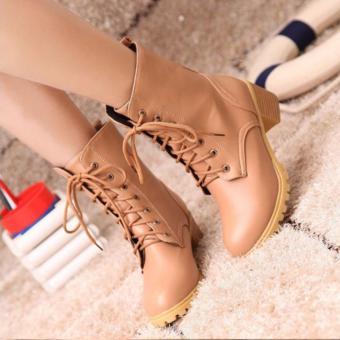 Giày boot nữ cổ cao đế trệt (Nâu sữa)
