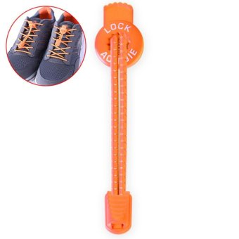 LALANG No-Tie Elastic Pull-Tight Replace Shoelace Reflective Athlete-Friendly Shoelace (Orange) - intl