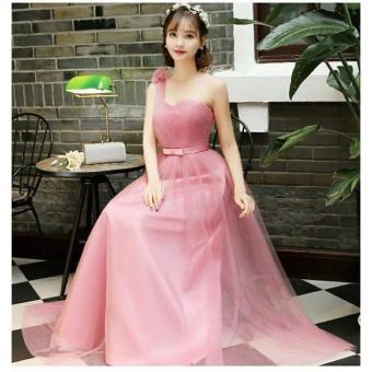 Đầm Xòe Lưới Dài Thướt Tha 1 Vai Hana Fashion ( hồng phấn)