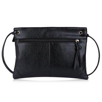 Vintage Portable Shoulder Messenger Bag Solid Color Detachable Strap Zipper(Black) - intl