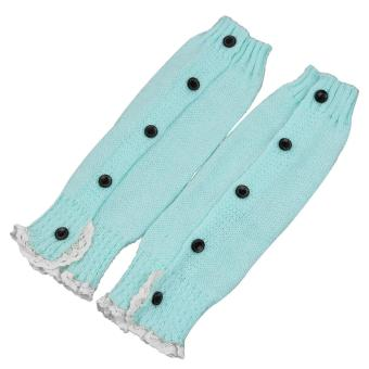 1 Pair of Kids Girls Long Crochet Knit Lace Leg Warmer Winter Leg Warmers Socks Boot Cuffs Socks Toppers Acid Blue - intl