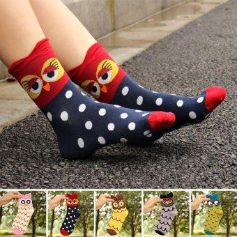 Moonar Cartoon Colorful Owl Socks Women Cotton Socks (Red) - intl