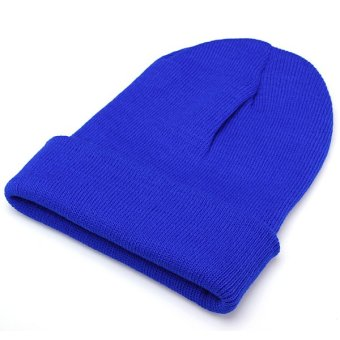 Unisex Knitted Plain Beanie Hiphop Cap Skull Cuff Winter Hat Crochet Solid Color Blue - Intl - intl
