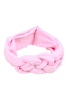 Fancyqube Soft Girl Kids Hairband Turban Knitted Knot Cross Headband Headwear Pink