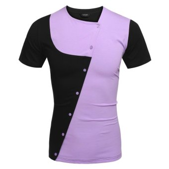 Linemart COOFANDY Men Fashion Casual Asymmetrical Collar Short Sleeve Patchwork Contrast Color T Shirt Tops ( Purple ) - intl