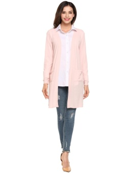 Cyber Women Fashion Casual Long Sleeve Sunscreen Pocket Open Front Cardigan ( Pink ) - intl