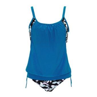 Women Spaghetti Strap Floral Print Swimsuit(Blue) (Int:XL)(Intl:)