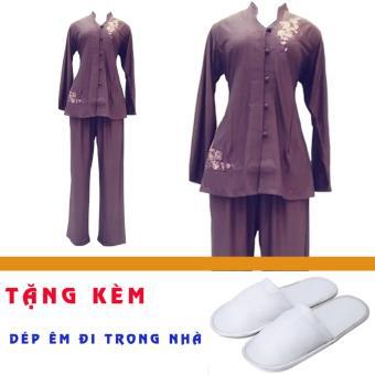 Bộ 2 áo 2 quần Phật tử nữ đi chùa An Huy Nghi (tím xanh) + Tặng 2 đôi dép nỉ đi trong nhà