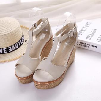 Giày xăng đan nữ đế xuồng màu kem cao 9cm CG77