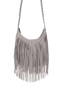 HKS Women Fashion Tassel Suede Fringe Single Shoulder Handbag Gray - intl