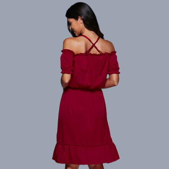 Women Off The Shoulder Lantern Sleeve Flounced Dress (Ruby Red) - intl