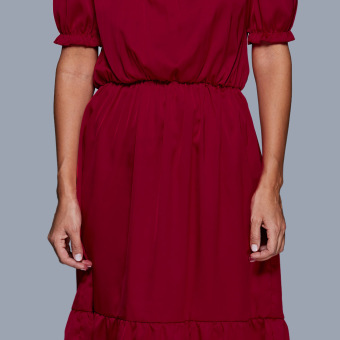 Women Off The Shoulder Lantern Sleeve Flounced Dress (Ruby Red) - intl