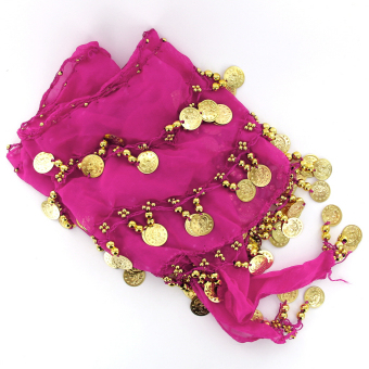 One pcs Belly Dance Belt Hip Scarf Wrap Belt Skirt with 128 Gold Coins - Shocking Pink - intl