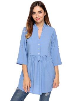 Cyber Women Casual V-Neck Three Quarter Sleeve Solid A-Line Pleated Circular Arc Hem Shirts ( Blue ) - intl