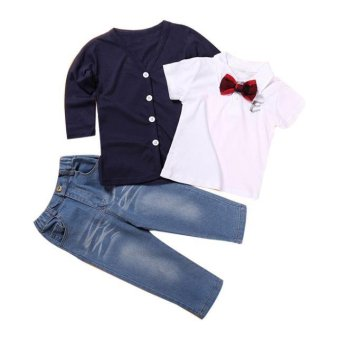 1Set Kids Baby Boys Long Sleeve T-Shirt Tops+Coat+Pants Clothes Outfits - intl