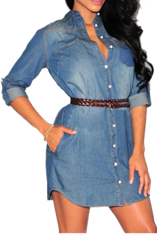 Vococal Women's Long Sleeve Denim Shirt Dress with Belt Dark Blue S (Intl)