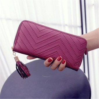 Tassel Wallets Pu Leather Women Wallet Coin Purses Stripe Long Purse ID Credit Card Holders Fringe Lady Clutches Carteria Wine Red - intl