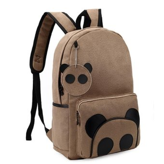LALANG Korean Backpack School Leisure Travel Bag Cute Cartoon Bear Girls Backpack (Khaki) - intl