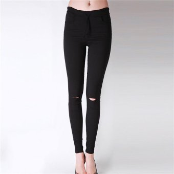 LALANG Fashion Women Skinny Leggings Exposed Knee Holes Feet Pants (Black) - Intl