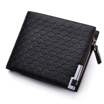 PU Leather Zipper Wallet Money Clip Card Holder Pocket Money Purse Black - Intl