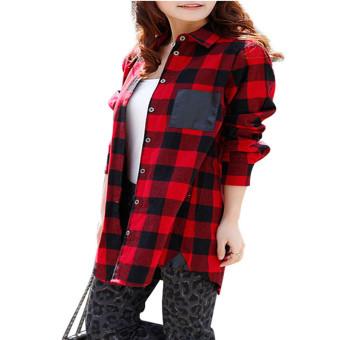 ZANZEA Women Casual Lapel Collar Plaid Shirts (Intl)