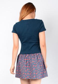 Đầm Áo Thun Liền Chân Váy Họa Tiết Aloha Fashion (Xanh đậm)