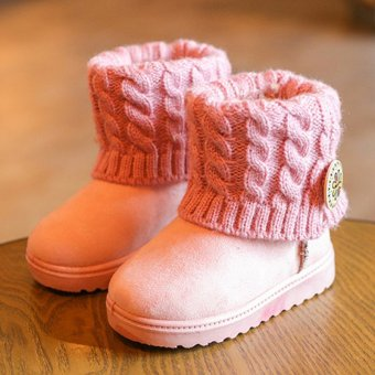 Girls Kids Ankle Snow Boots Children Winter Warm Knitt Fur Lined Booties Shoes Pink - intl
