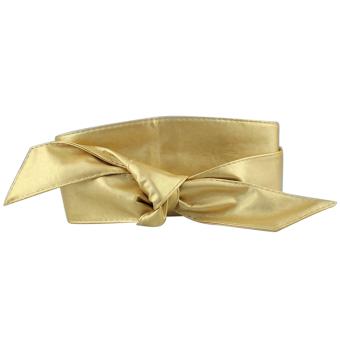 Women PU Leather Soft Self Tie Band Wrap Around Sash Obi Belt Corset Cinch Waist Belt Band Waistband Golden