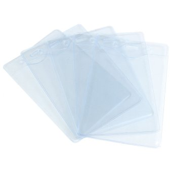 5Pcs Clear Plastic Vertical Pouch Wallet ID Security Pass Holder Ticket Pocket - intl