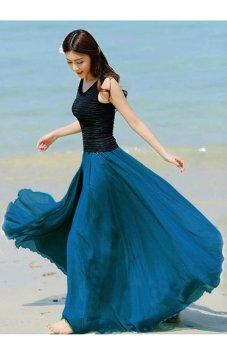 Long Bohemian Maxi Chiffon Skirt (Dark Blue) - Intl