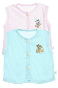 Bộ 2 áo khỉ thêu trẻ em Nanio A0004-Hxn (Hồng Xanh Nhạt)