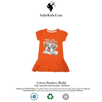 Baby Cute Bulldog Orange Dress 2y
