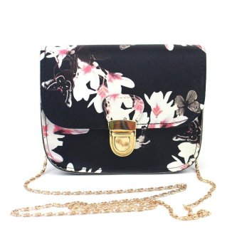 Women Butterfly Flower Printing Handbag Shoulder Bag Tote Messenger Bag - intl