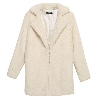 Cyber Finejo Women Casual Fluffy Faux Fur Warm Solid Long Straight Coat Jacket Outerwear Overcoat ( White ) - Intl