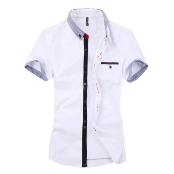 2016 New Mens Shirt Striped Cotton Short Sleeved Shirt Color Slim Mens Casual Shirt (White) - intl