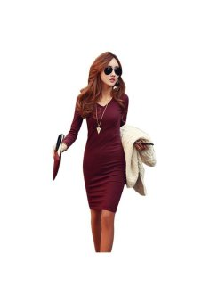 Women V Neck Long Sleeve Knitted Dress Wine Red - Intl