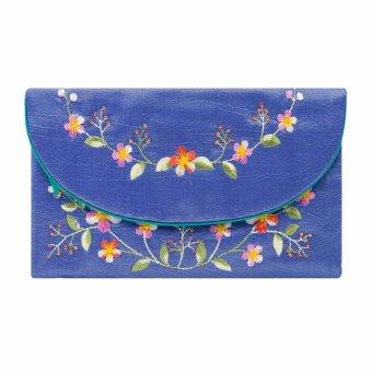 Ví cầm tay nắp thư Hoian Gifts vải lụa thêu hoa (xanh dương) HA-51Q