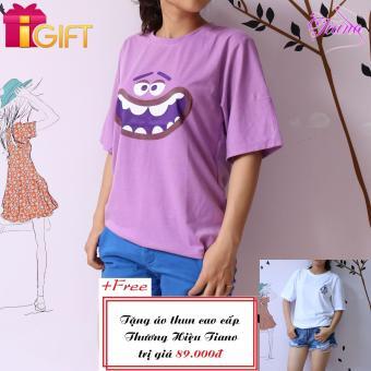 Áo Thun Nữ Tay Ngắn In Hình Cartoon Cá Tính Tiano Fashion LV260 ( Màu Tím ) + Tặng Áo Thun Nữ Tay Ngắn In Hình Rose Dễ Thương Tiano Fashion