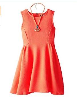 Bộ áo đầm & dây chuyền bé gái My Michelle Big Girls' Texture Knit Skater Dress with Necklace (Mỹ)