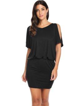 Cyber Women's Cold Shoulder Batwing Sleeve Package Hip Blouson Dress ( Black ) - intl