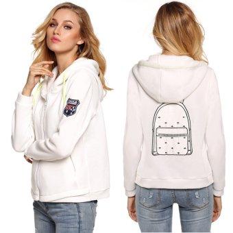 Cyber Finejo Sports Women Casual Hoody Coat Bag Applique Back Warm Zipper Pockets Hoodie (White) - Intl