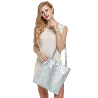 Sunwonder Retro Women Synthetic Leather Shoulder Strap Casual Bag(Silver)